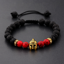 DOUVEI Drop Shipping Roman Knight) Spartan Warrior 검투사 Helmet Bracelet Men 돌 Bead Bracelet 말라 요가 Elastic Bracelet(China)