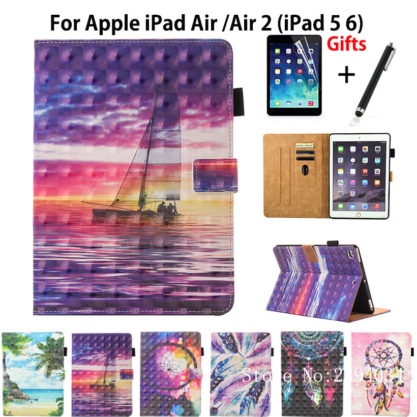 3D Colorful Case For Apple iPad air 1 2 case For iPad 5 6 Smart Case Cover Funda Tablet Fashion PU Leather Stand Shell+Film+Pen сандалии ralf ringer сандали