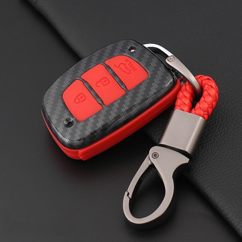Carbon Fiber SiliconeCar Remote Flip Key Shell Cover Case For Hyundai Creta i10 i20 ix35 Tucson Elantra Santa Fe 2016 2017 2018