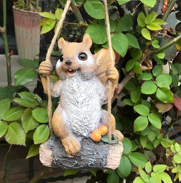 50% off,Swing Squirrel Garden Decoration Villa Courtyard Kindergarten Estate Shop Ornaments Simulation Animal Micro Landscape