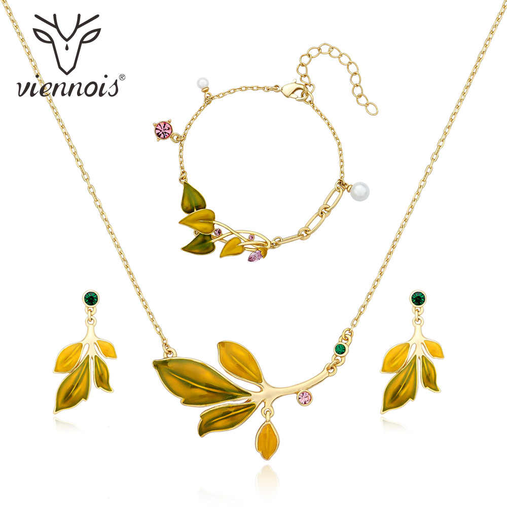 Viennois Leaves Necklace Set For Women Gold Color Chokers Necklaces Rhinestone Crystal Bangle Wedding Party Jewelry 2019