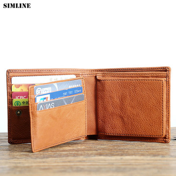 SIMLINE Genuine Leather Short Men Wallet Vintage Handmade Real Cowhide Men's Wallets Purse Card Holder Male With Coin Pocket Bag