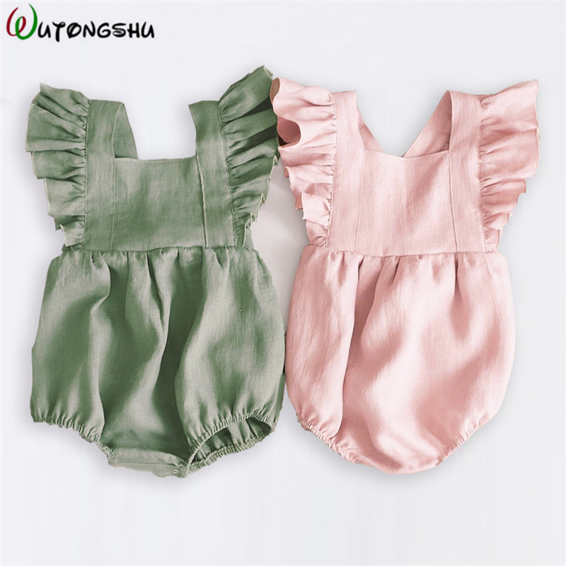 Spring Baby Girls   Rompers   Ruffles Princess Baby Clothing Bebe Roupas Newborn Baby Clothes Infant Overalls Summer Baby Outfit