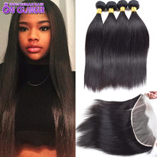 Raw Indian Straight Human Hair 4 Bundles With Closure Indian Virgin Hair With Closure Full Frontal Lace Closure With Bundles