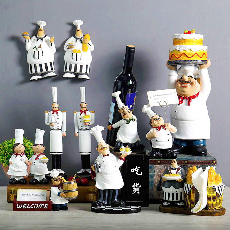 Creative Resin Chef Figurines Bakery Decoration Home Decoration Accessories Living Room Decoration Wine Rack Bakery Ornaments|Figurines & Miniatures| |  - title=