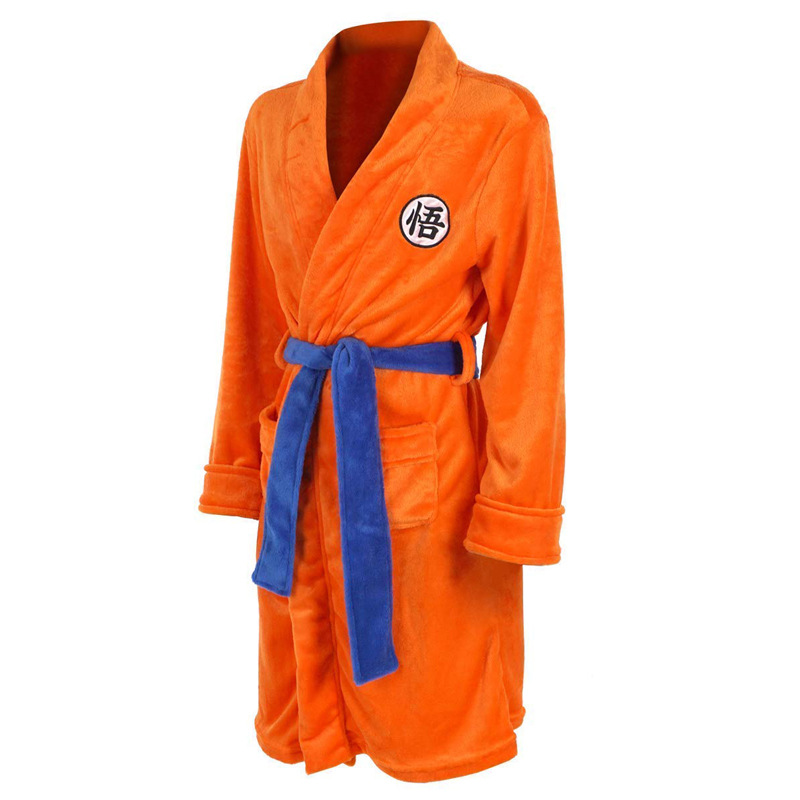 Adult Bathrobe Dragon Ball Cosplay Son Goku Costume Bath Robe Sleepwear Pattern Plush Robe Women Men Pajamas Cartoon