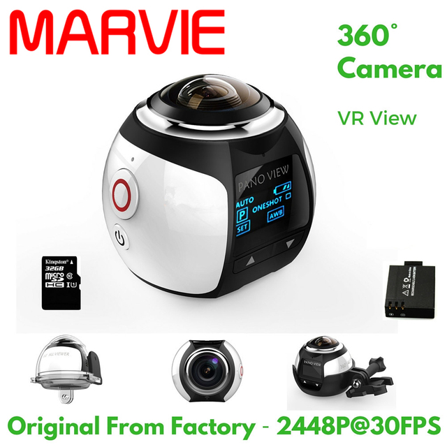 MARVIE 4 К 360 Градусов Действий Видеокамеры Wifi Мини 2448*2448 16MP Ультра HD Панорама Камеры 3D Водонепроницаемый Sport Driving VR камера