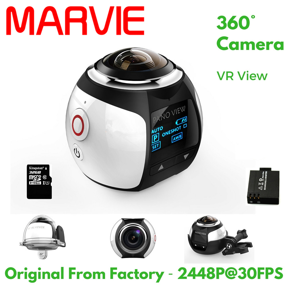 MARVIE 4K 360 Degree Action Video Camera Wifi Mini 2448*2448 16MP Ultra HD Panorama Camera 3D Waterproof Sport Driving VR Camera