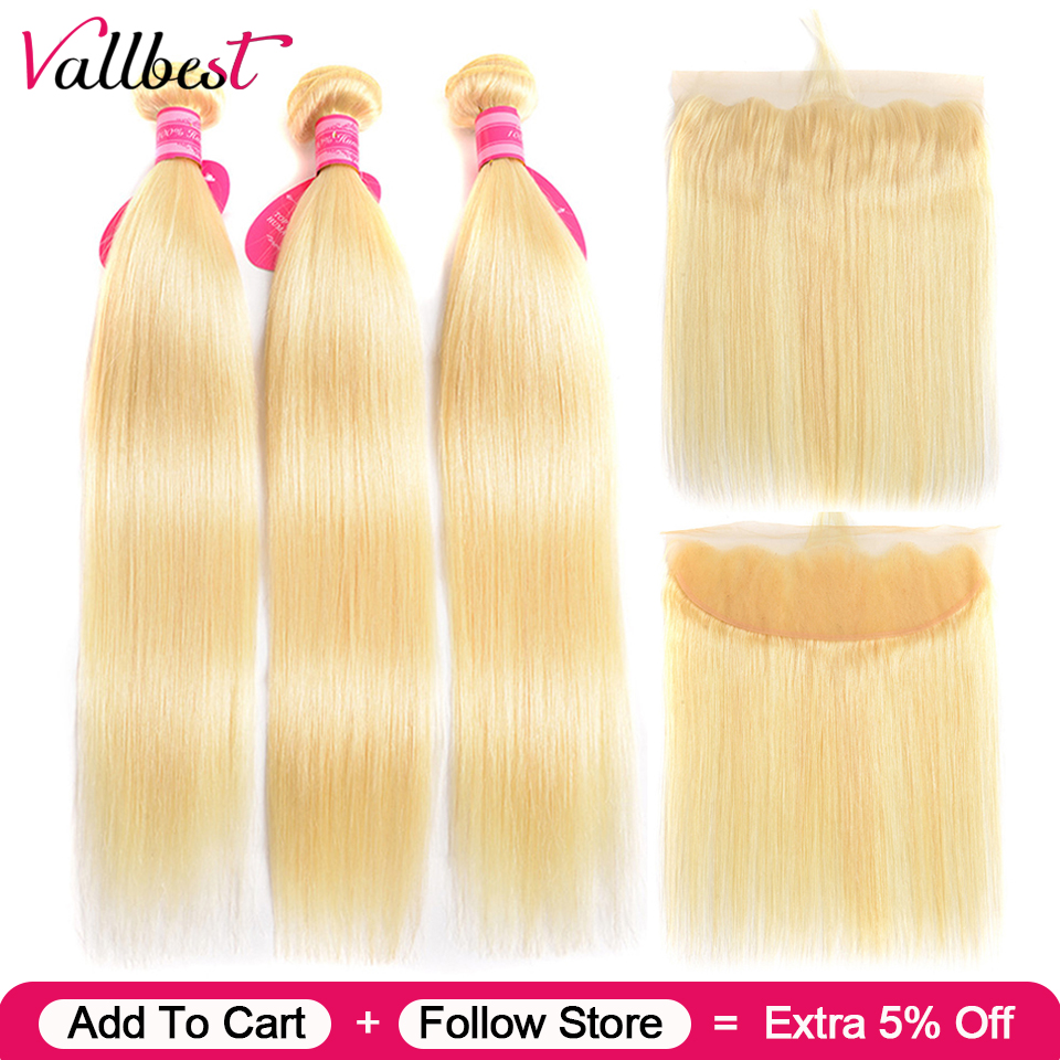 Vallbest Blonde-Bundles Frontal-Closure Straight Hair Brazilian with Remy