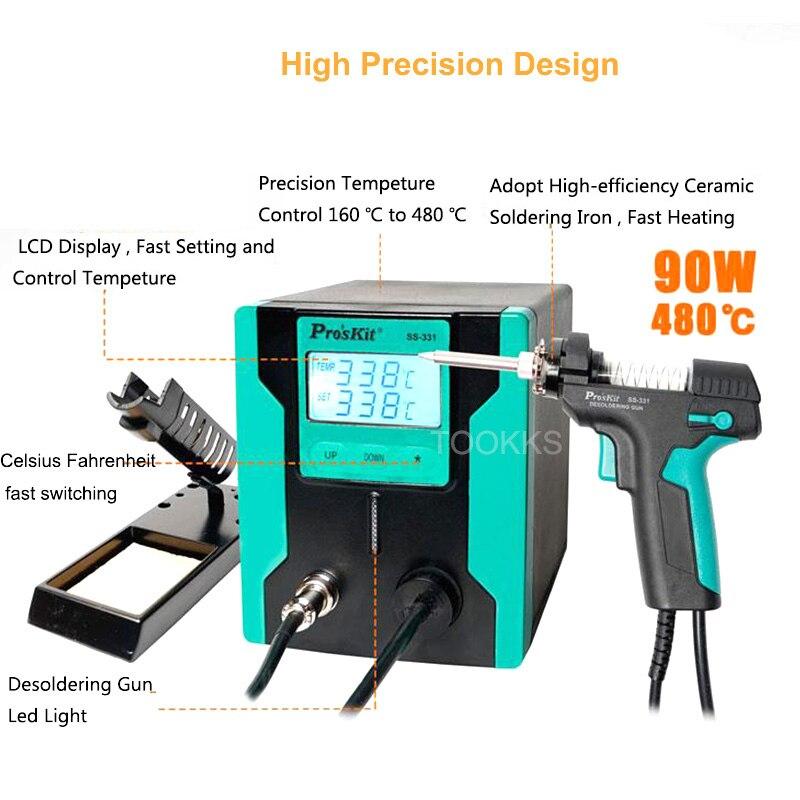 2019 nouvelle version Pro'sKit SS-331H ESD LCD numérique pompe à dessouder électrique BGA dessouder aspiration vide soudure ventouse pistolet