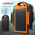 Высокое качество Солнечное зарядное устройство 12000 мАч Портативный Водонепроницаемый Солнечной Банк силы Двойной USB Солнечной Cargador Portatil для iphone 6 s xiaomi