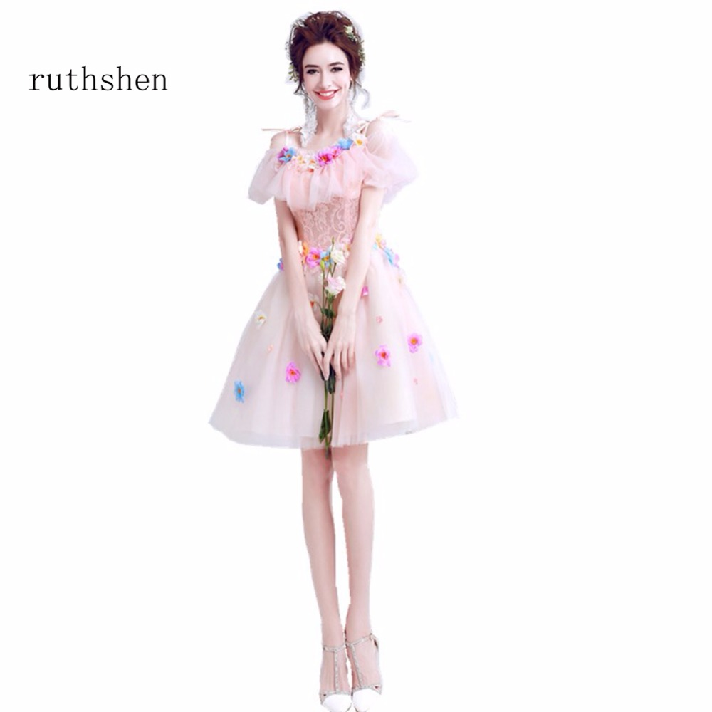 ... ruthshen Fashion Cheap Short Knee Length Cocktail Dresses Lace  Appliques Light Pink Vestidos Coctel 2018 Special ... 563f06f7a483
