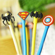 4 pcs/Lot Black Ink Gel Pen Hero Superman Batman Spiderman Captain Kawaii Cute Stationery Caneta Gift Office & School Supplies