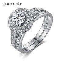 Mecresh 2pcs Set 925 Sterling Silver Wedding Anniversary Ring Set For Women Fashion CZ Two Band