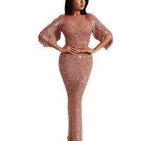 Vintage bling bling women wrap hip night dress slim split sequined maxi dress puff sleeve shinning lady party dress S XL