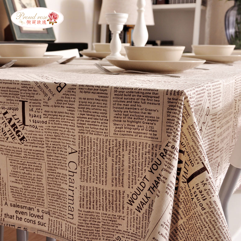 Proud Rose English Coffee Color Newspaper Cotton Lace Tablecloth Tea Table  Cloth Dinner Table Cover Modern Home Table Decoration