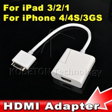1pcs High Quality Dock Connector to HDMI Adapter AV Cable For iPhone 4 4S for iPod Touch for iPad 2 3 to HDTV TV 1080P