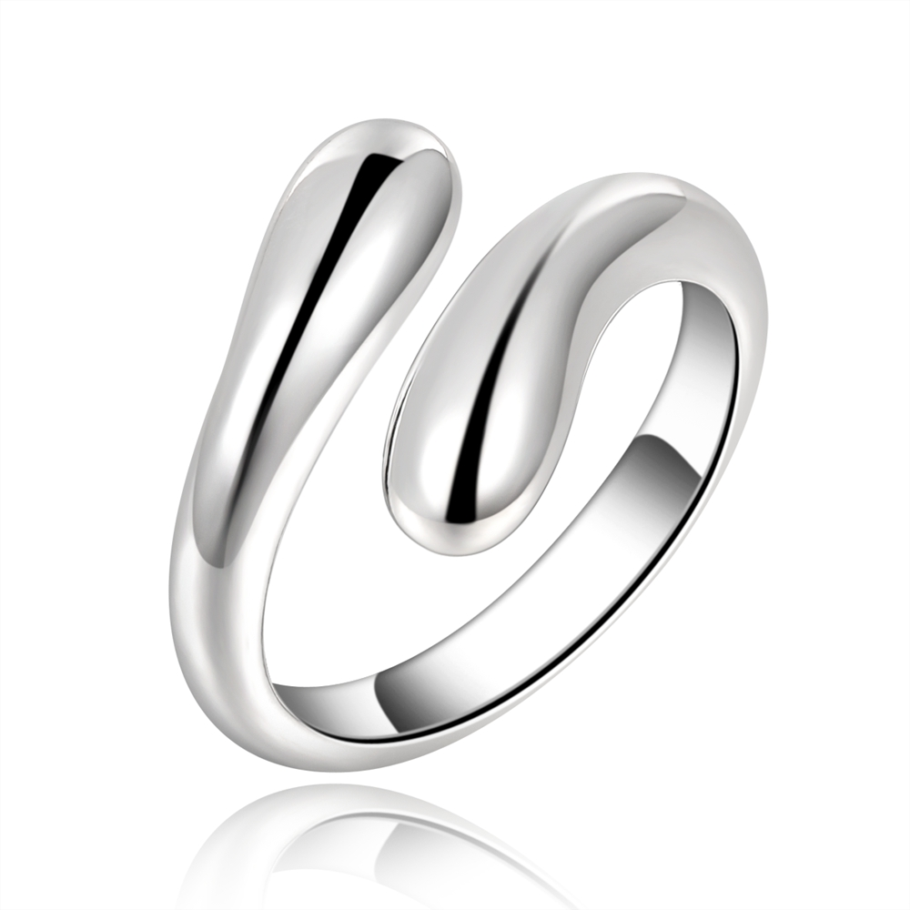 The new silver Plated charm female double round ring free shipping drop open party bohemian style engagement ring