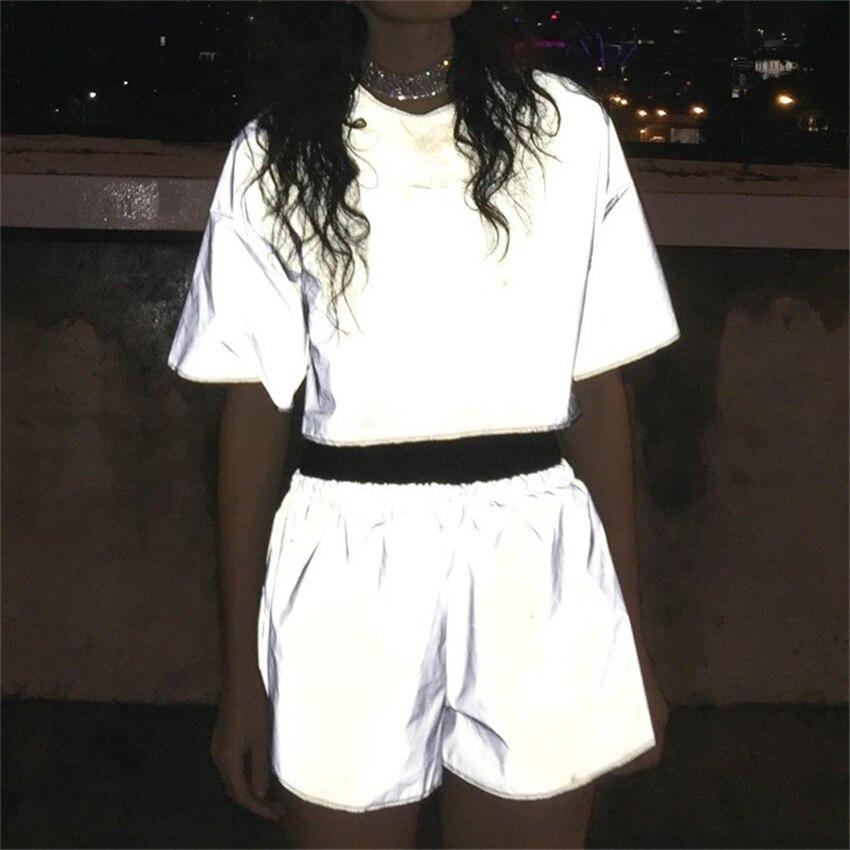 Jessie Vinson Fashion Women Reflective Short Pants Female Jogger Shorts Shiny Hip Pop Fluorescent Short Sport Trousers Clue Wear