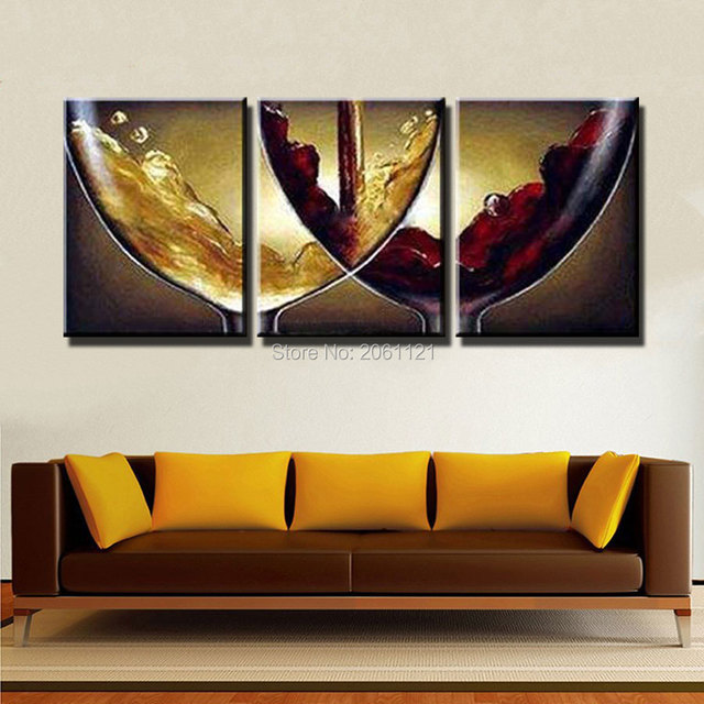 Hand Paint Ideas Kitchen Decorative Oil Paintings On Canvas Wine And  Champagne Wineglass Canvas Picture Wall
