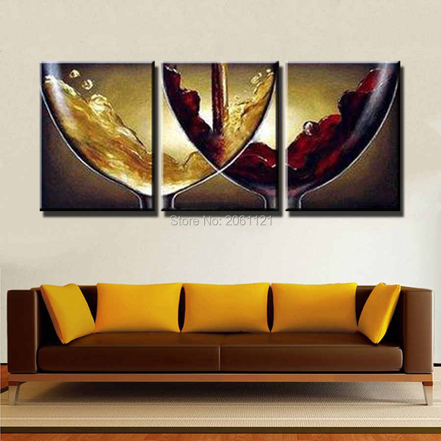 Hand Paint Ideas Kitchen Decorative Oil Paintings On Canvas Wine And Champagne Wineglass Canvas Picture Wall Decoration Art