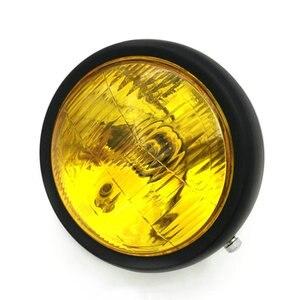 Image 4 - Krom Siyah Cafe Yarış Ön Kafa ışık Dekoratif Işık Modifiye Motosiklet Far Far Motosiklet Vintage