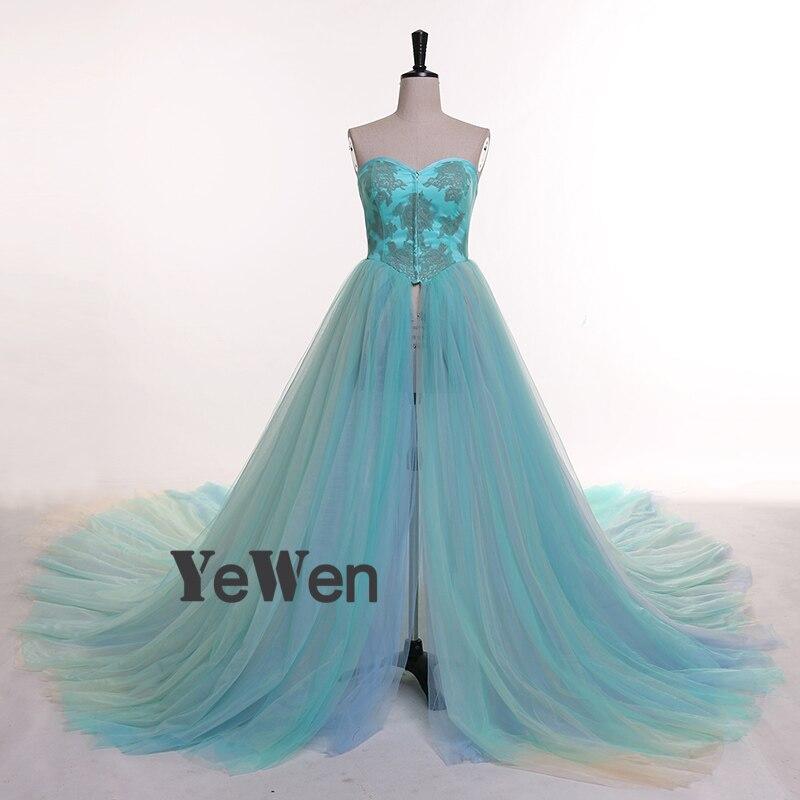 Élégant robe de soirée avec coloré longue Train robe formelle Tulle avant fente maternité photographie robe 2019 YEWEN Photo Shoot - 2