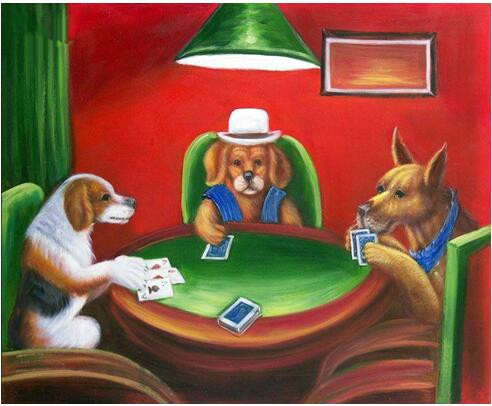 Oil painting dogs playing poker location table de jeux casino