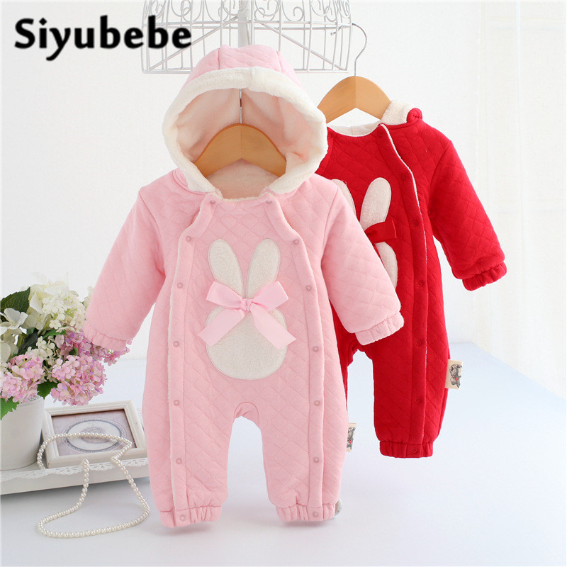 Baby Rompers Winter Thick Climbing Clothes Newborn Boys Girls Warm Romper Cotton Fleece Brand Christmas Rabbit Hooded Outwear baby climb clothing newborn boys girls warm romper spring autumn winter baby cotton knit jumpsuits 0 18m long sleeves rompers