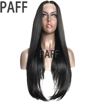PAFF Brazilian Silky Straight Full Lace Human Hair Wigs 34inch Long Remy Hair Wig Pre Plucked Baby Hair Bleached knots Free Part