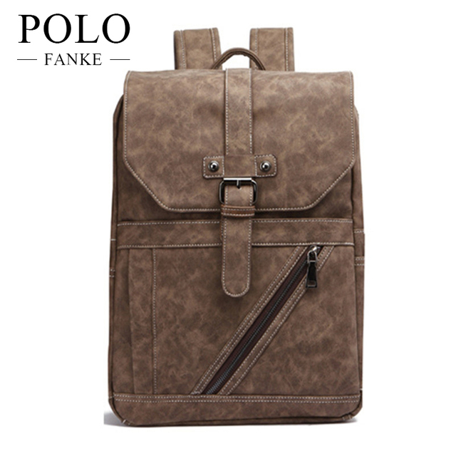 cd8aae92bf9d FANKE POLO Fashion Male Bag Laptop Men Business Casual School Travel Brown  Leather Men s Shoulder Bags Vintage Backpacks FB1008N