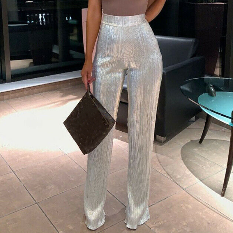 Women Sequins High Waist   Wide     Leg     Pants   Ladies Casual Loose Party Sparkly Silver Long Trousers 2019 New