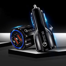 Quick 3.0 Charge Car Charger Adapter For Mobile Phone Dual Usb Car Charger Qualcomm Qc 3.0 Fast Charging Mini Usb Car Charger(China)