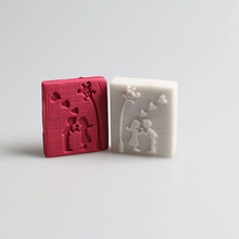 Small Cute Sweet Lovers pattern handmade soap seal stamp custom DIY  soap chapter resin soap chapter