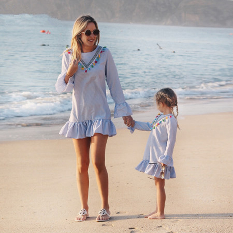 Family Matching Clothes Nine Quarter Stripe Tassel Mini  Summer Outfits Mother And Daughter Clothes Dress Mom And Daughter Dress