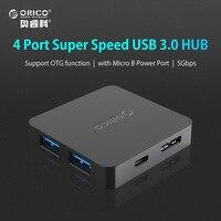 ORICO Super Speed 4 Port USB HUB 3.0 Portable OTG HUB USB Splitter avec Micro B Port D'alimentation Tablet Ordinateur Portable PC Ordinateur
