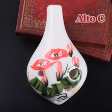 Chinese Ceramic Ocarina Flute 6 Hole Alto C Mini Pendant Flauta Clay Wind Musical Instruments AC Beginners Gifts Hand Painted
