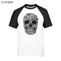 Fashion trend top tees Pretty Pattern 3D print Skull Men's brand clothing High quality short sleeves Customized T-shirt USA size