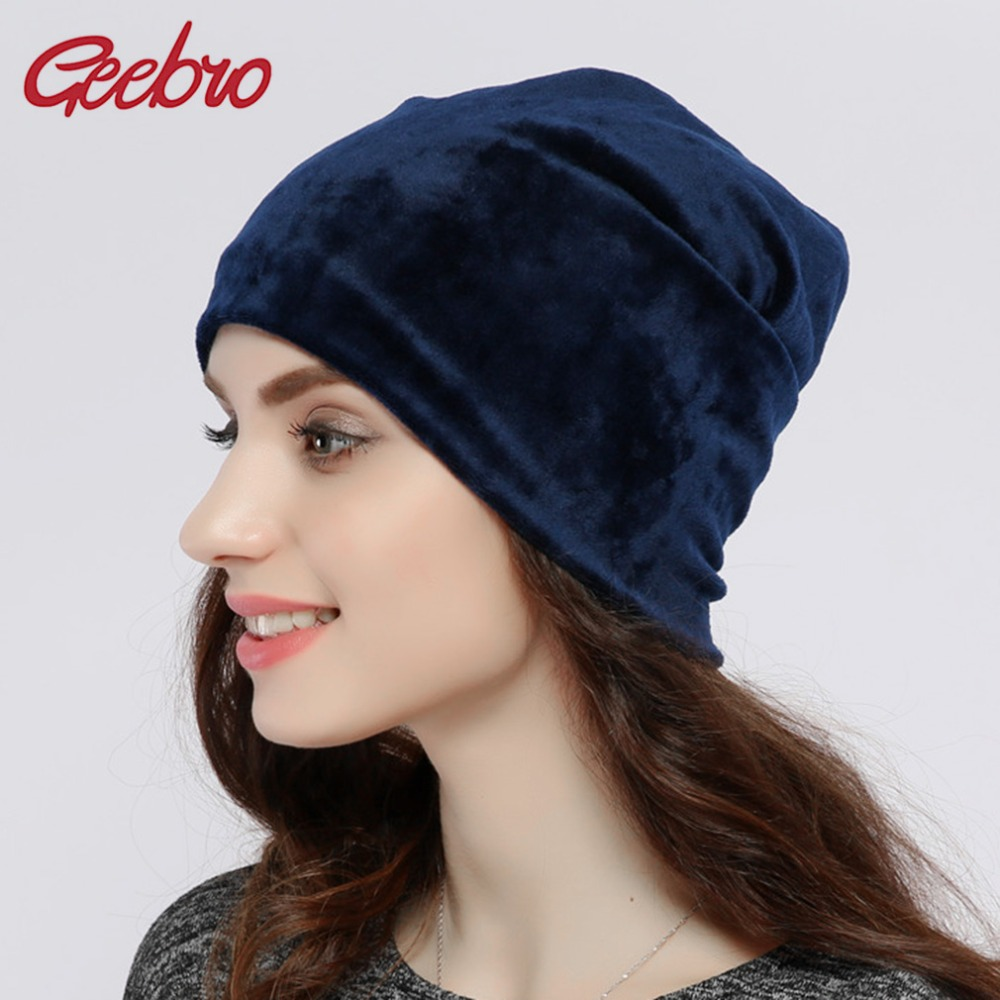 Geebro Brand 2020 Women's Hat   Skullies     Beanies   Polyester Knitted Hats   Beanie   Hat Spring Casual Velvet Women   Beanies   Hats JS277A