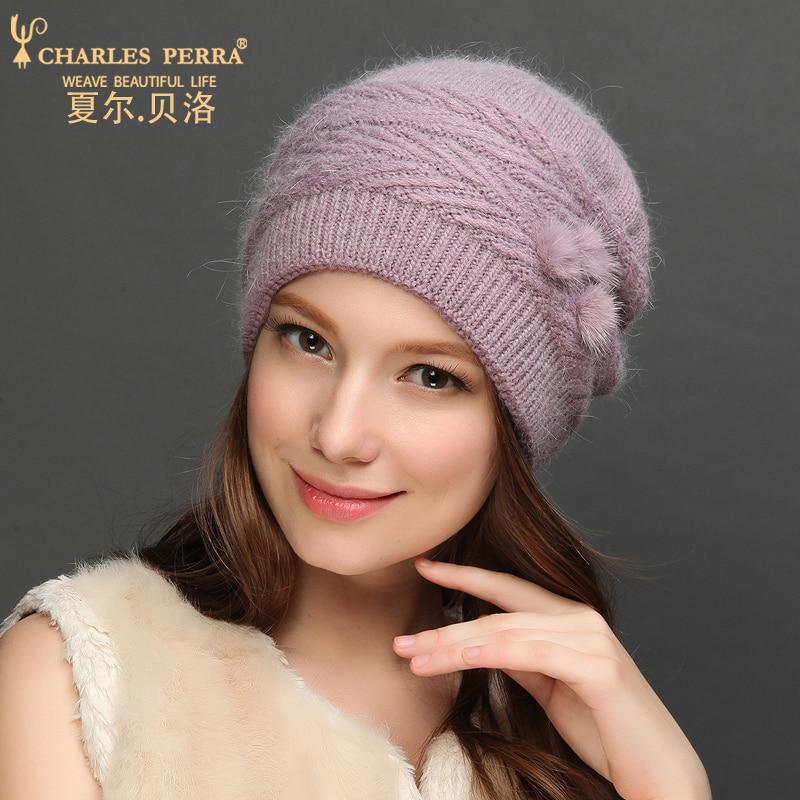 Charles Perra Women Wool Hats NEW Autumn Winter Rabbit Hair Knitted Caps Warm Protect Ear Casual Femal Skullies Beanies 7310