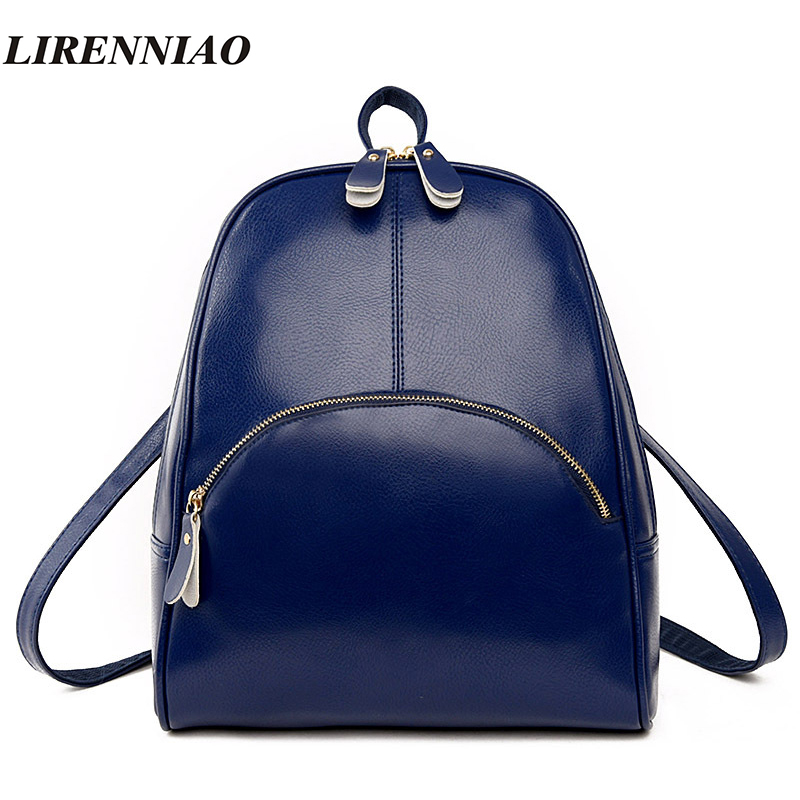 High Quality Pu Leather Backpack Women Bag Fashion Solid Backpacks School Bags Famous Brand Travel Backpack 2017 New Shell Bags