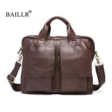 BAILLR Brand Genuine Leather Men's Handbag luxury design Cross body Bag High quality Tote bags Fashion Men Business briefcase brown bag high quality leather messenger bags brand fashion design cross body flap box handbag black green white color