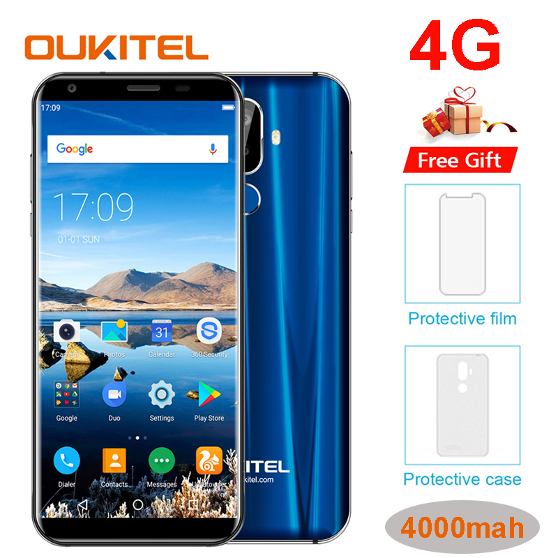 Oukitel K5 18:9 Display 5.7''HD Android 7.0 2GB RAM 16GB ROM MTK6737T Quad Core 13MP 3 Cameras 4000mAh Fingerprint Mobile