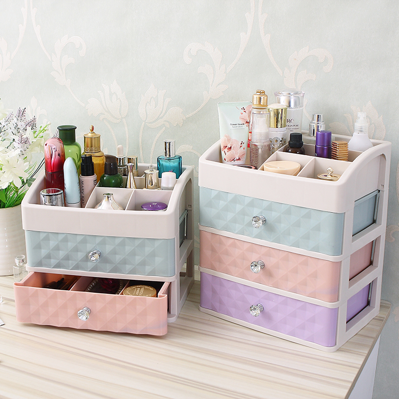 Plastic Drawer Makeup Organizer Cosmetic Beauty Box Nail Desktop Storage Case Brush Lipstick Nail Polish Container Bathroom Item
