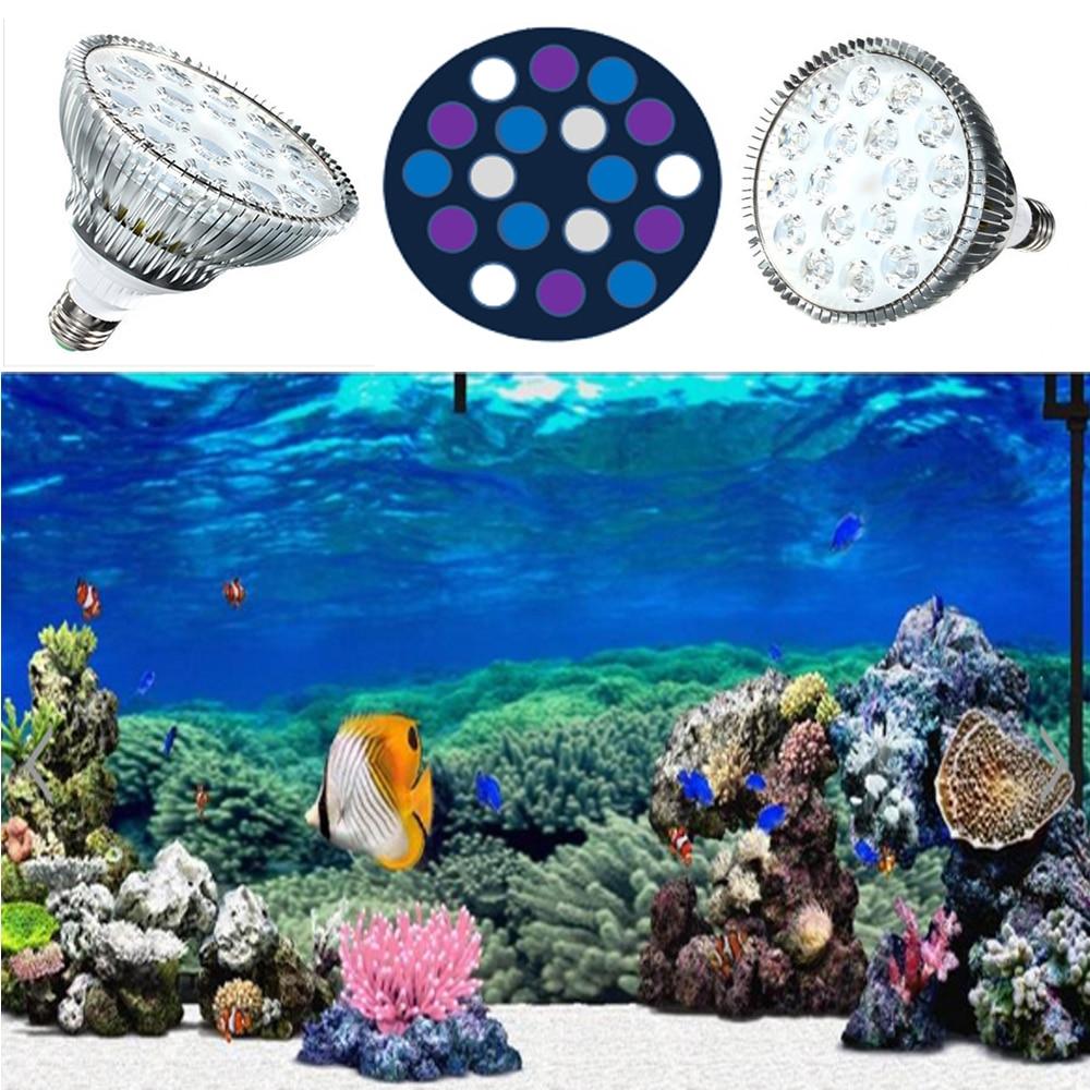 Plein spectre 54 W lumière LED d'aquarium 6 bleu 6 blanc 6 UV PAR38 plante poussent LED pour les réservoirs de ravitaillement