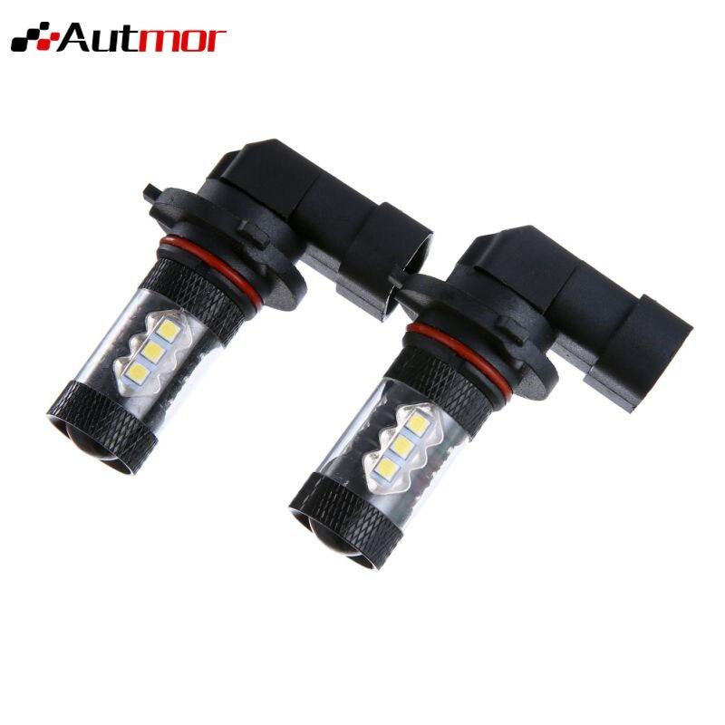 AUTMOR 2PCS Car LED Fog Lights 80W 9005/HB3 9006/HB4 H10 3030SMD 12V 80W 6000K Car Replacement Parts Auto Accessories