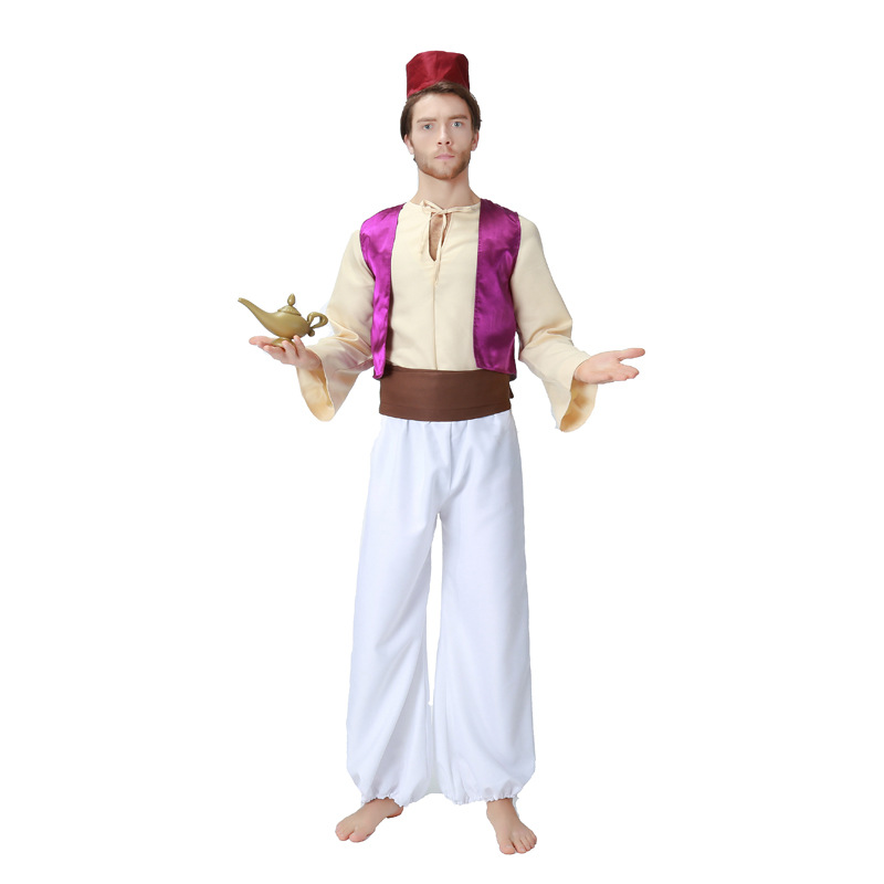 Umorden Carnival Party Halloween Costume Aladdin Lamp Aladdin Costumes Men Adult Arabian Prince Cosplay Outfit