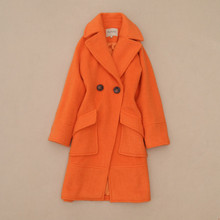 New 2016 autumn winter fashion women orange solid color warm wool coat double breasted coats big pockets novelty outerwear