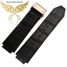 Замена ремешок для часов 24 мм высокое качество черного картины аллигатора резиновые часы ремень браслеты серебряный развертывания часы пряжка