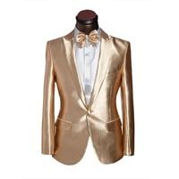 2017 Latest Coat Pant Designs Gold Satin Men Suit Prom Jacket Slim Fit Tuxedo Custom Groom Stage Suits 2 Piece Blazer Masculino